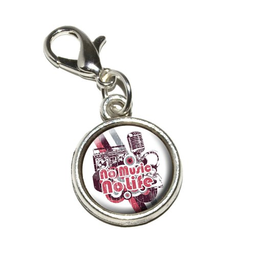 Graphics And More No Music No Life Dj Radio Stereo Microphone Rock Roll Antiqued Bracelet Pendant Zipper Pull Charm With Lobster Clasp