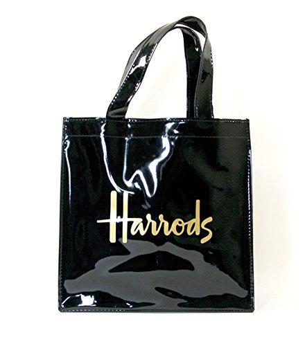 (ハロッズ) Harrods 正規品 PVC トートバック Harrods Signature Shopper Bag 黒 裏地付 1.Sサイズ