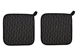 Now Designs Basic Potholders, Black Pinstripe, Set of 2 by Now Designs