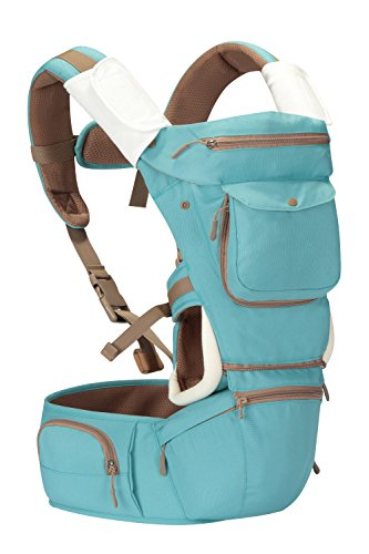 Kiddihug-New-Style-Designer-Quality-Performance-4-in-1-Baby-Carrier-with-Hip-Seat-and-Hood-Aqua