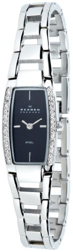 Skagen Ladies Watch 605SSXB with Silver Stainless Steel Bracelet and Black Dial
