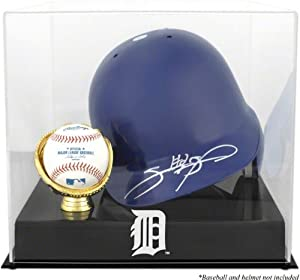 Detroit Tigers Batting Helmet with Ball Holder Logo Display Case by Mounted Memories