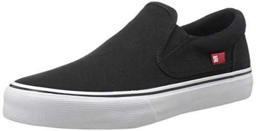 DC Trase Slip-On TX Skate Shoe, Black/White, 10.5 M US