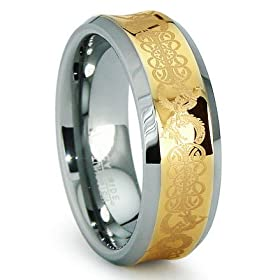 Concave Gold Inlay Celtic Tungsten Carbide Wedding Band Ring 9mm Size 8-12.5