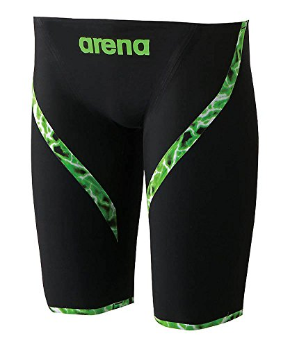 arena(アリーナ) メンズ 競泳水着 ハーフスパッツ アクアフォース ライトニング ARN-6001M ブラック×グリーン S