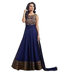Yeoja Creation Women's Net Anarkali Dress(YEJ007_Freesize_Maroon_Blue_Pink_Purple) (Blue)