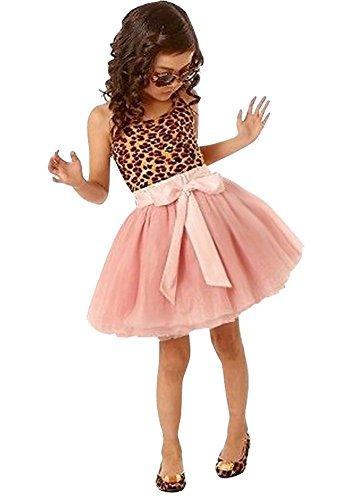 DAYAN Vestido Lovely Baby niñas vestido sin mangas del leopardo del Bowknot con volantes de tul vestido de fiesta de Pincess Tutu - size 110cm