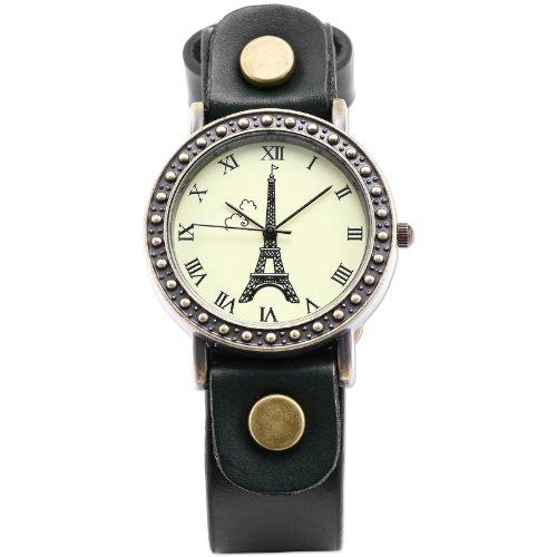 AMPM24 Vintage Bronze Case Eiffel Tower Lady Girl Green Leather Band Quartz Wrist Watch WAA472