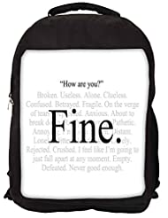 Snoogg Im Fine Express Yourself Backpack Rucksack School Travel Unisex Casual Canvas Bag Bookbag Satchel