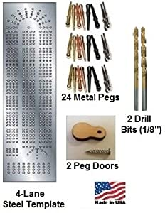 Cribbage Board 4-lane Steel Template Starter Kit