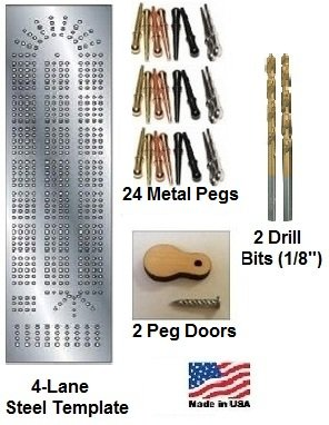 Cribbage Board 4-lane Steel Template Starter Kit (Woodworking Kit)