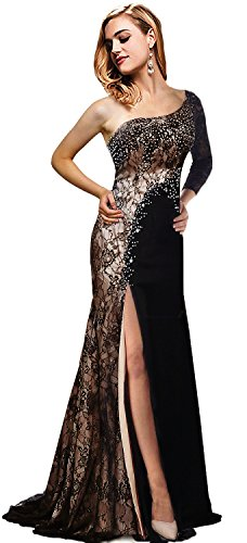 Rong Store Evening Dresses One Shoulder Long Sleeve Black US2
