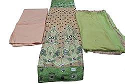 Alankar Textiles Panjabi Suit Piece Peach Color Cotton Dress Material