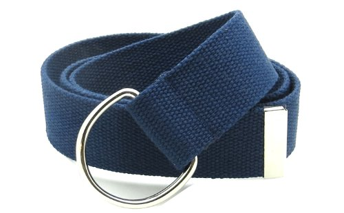 """Canvas Web Belt Double D-Ring Buckle 1.5"""" Wide with Metal Tip Solid Color (Navy M)"""