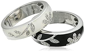 Sterling Silver Black White Enamel Floral Diamond Stack Ring (1/10 cttw), Size 8