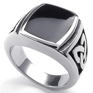 KONOV Schmuck Herren-Ring, Edelstahl, Irischen Dreiecksknoten Trinity Keltisch Knoten Siegelring, Schwarz Silber - Gr. 54