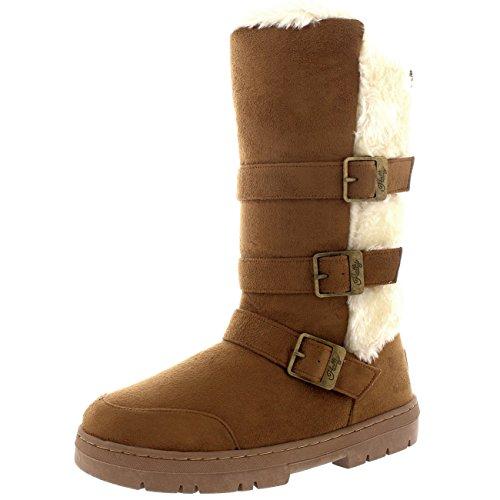 femmes-triple-buckle-fourrure-doublee-impermeable-hiver-neige-longue-mi-mollet-bottes-bronzage-leger