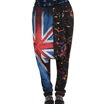 Aubig Fashion Haremshose Pumphose Pluderhose Aladinhose Baggyhose Hippie Hip-Hop, UK Flag Pattern