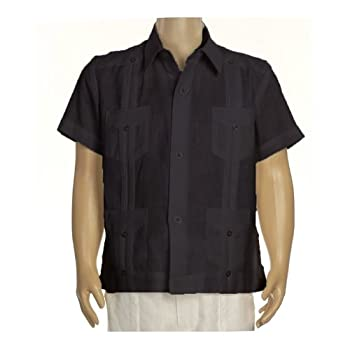 Boys linen short sleeve guayabera in black. Final sale