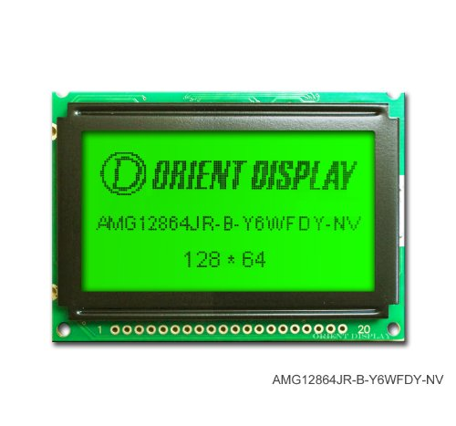 """2.4"""" 128X64 Graphic Lcd Module Black On Yellow Green With Yellow Backlight Amg12864Jr-B-Y6Wfdy-Nv"""