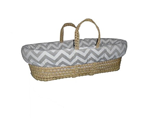 Baby Doll Minky Chevron Moses Basket, Grey