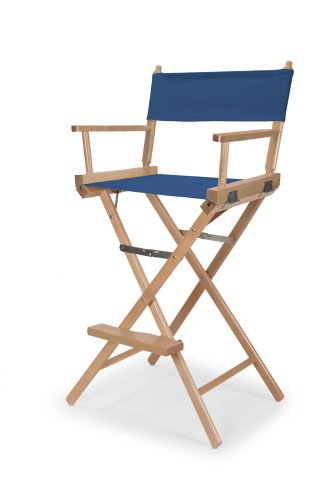 Telescope Casual Heritage Bar Height Director Chair, Blue with Varnish Frame