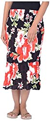 Legginstore Women's Floral Printed Three Forth (3/4) Skirt (LS-LongSkirt-Red_XL, Red, XL)