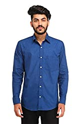 Snoby blue plain cotton shirt SBY8076