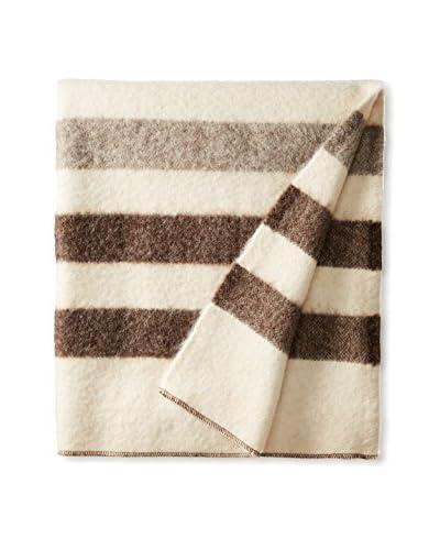 Bambeco Tonal Striped Wool Throw, White/Grey/Charcoal