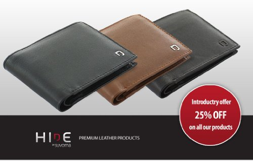 HD-2101 Suvorna HIDE High Quality Genuine Soft Leather Wallets For Boys / Men With Multiple Card Slots, ID Window.
