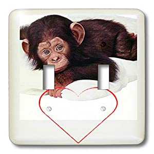 lsp_779_2 Valentines Day - Valentines Monkey - Light Switch Covers - double toggle switch