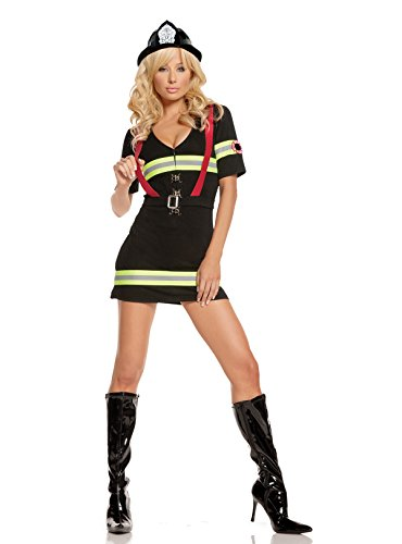 Blazing Hot Female Fire Fighter Halloween Roleplay Costume 2pc Set