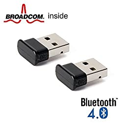 Bluetooth Adapter Dongle, GMYLE Ultra-Mini USB Broadcom BCM20702 Class 2 Bluetooth V4.0 Dual Mode Dongle Wireless Adapter with LED (2 Pieces Bundle Pack)