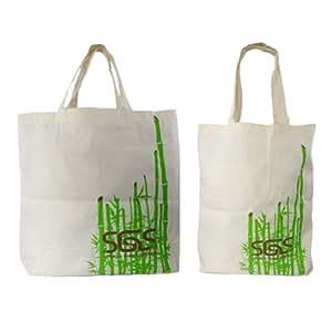 Reusable Organic Bamboo Tote Bag 2 Pack