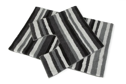 Stripey 2 Piece Black White Grey Bath Mat & Pedestal Toilet Rug 100% Cotton Set For Bathroom Hallways ®