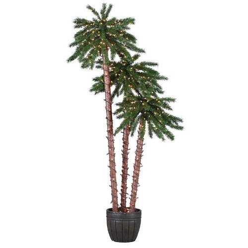 Sterling 5205-567C 5-Feet, 6-Feet And 7-Feet Pre-Lit Potted Palm Tree Clear Light