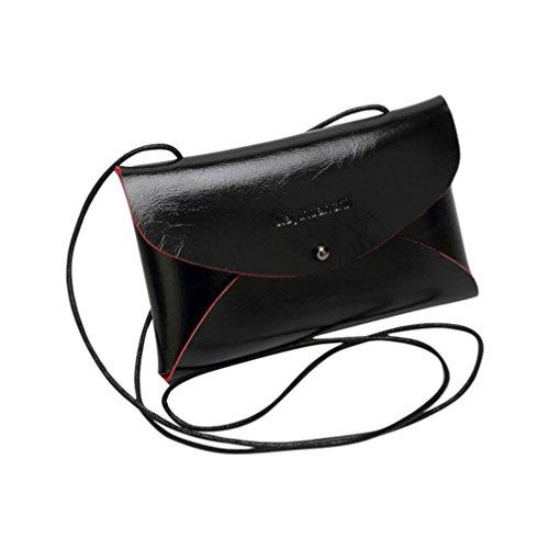 messenger borsa Kingko® Messenger Bag Nuove donne borsa dei sacchetti di spalla del Tote borsa di cuoio (Nero)