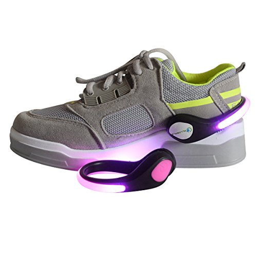 Alldeals Safety Colorful LED Flash Shoe Clip Lights, Good for Running, Cycling, Walking, Jogging, Horse Riding Skating Hiking & All Outdoor Sports BE SEEN & STAY SAFE (One Pair) Pink Color (Pink Cycling Shoes compare prices)