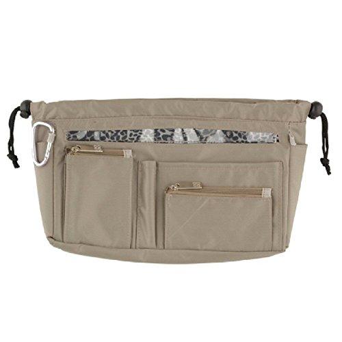 Handbag2Handbag Sac de Rangement Taupe avec nœud Doublure imprimé léopard et curseurs Transparent/Noir