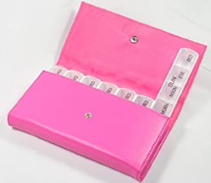 Buxton Pink Seven Day Weekly Pill Box Organizer