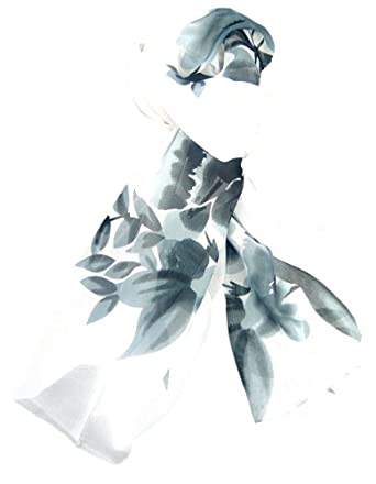 White Grey Leaf and Flower Lightweight Floaty Sheer Scarf, Light and Soft Feel.