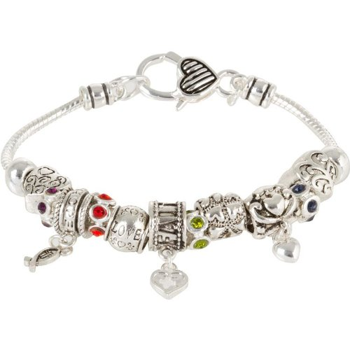 Heirloom Finds Faith Hope and Love European Bead Charm Bracelet