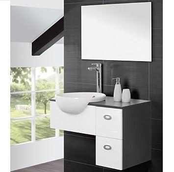 Mobile arredo bagno moderno sospeso cm 80 bianco e grigio o marrone con lavabo semincasso e specchio