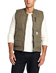 Carhartt Men\'s Big & Tall Brookville Quilted Nylon Vest,Breen,XX-Large Tall