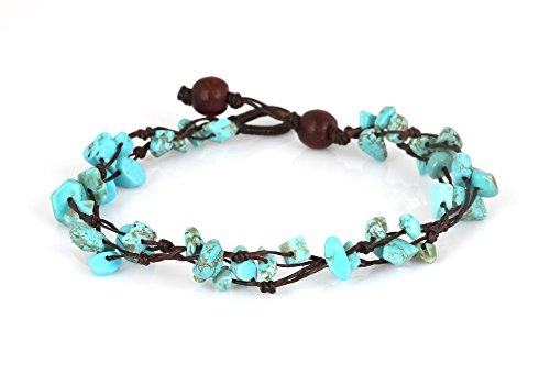 MGD, Blue Turquoise Color Bead Anklet. Beautiful