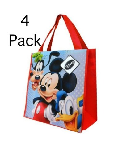 "4 Pack Mickey Mouse Tote Bag Set(13""x14""x6"" Woven Reusable) and Rare 2 Sheets of Mickey Mouse Clubhouse Sticker Set"