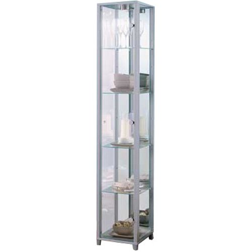 Silver Single Glass Door Display Cabinet with 4 Moveable Glass Shelves & Spotlight
