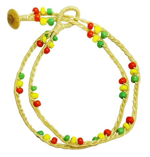 BDJ Handmade 2 Row Colorful Glass Bead Cream Cord Anklet Bracelet 10 Inches (AkSP06) (Baby Lock Quarter Inch Foot compare prices)