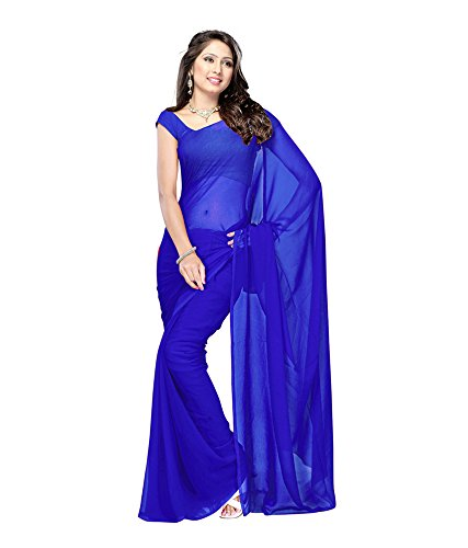 Lovely Look Latest collection of Plain Sarees in Georgette Fabric & in attractive Royal Blue Color