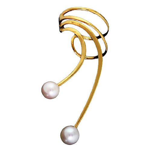 Vermeil Left Only Pierceless Long Wave White Cultured Pearl Ear Cuffs